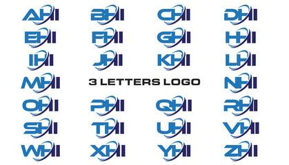 3 letters modern generic swoosh logo AHI, BHI, CHI, DHI, EHI, FHI, GHI, HHI,IHI, JHI, KHI, LHI, MHI, NHI, OHI, PHI, QHI, RHI, SHI, THI, UHI, VHI, WHI, XHI, YHI, ZHI
