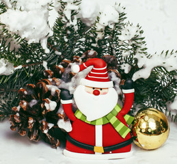 new year celebration, Christmas holiday stuff, tree, toys, decoration with snow, santas red hat