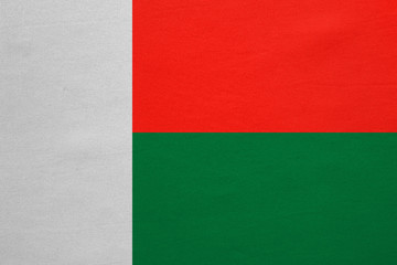 Flag of Madagascar real detailed fabric texture