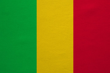 Flag of Mali real detailed fabric texture