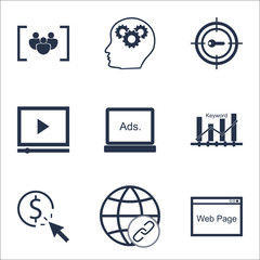 Set Of Advertising Icons On Digital Media, Keyword Optimisation And Connectivity Topics. Editable Vector Illustration. Includes Digital, Page And Pay Vector Icons.