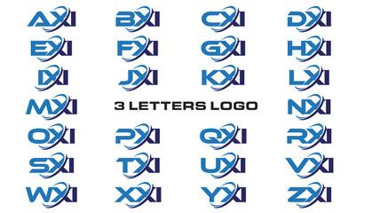 3 letters modern generic swoosh logo AXI, BXI, CXI, DXI, EXI, FXI, GXI, HXI,IXI, JXI, KXI, LXI, MXI, NXI, OXI, PXI, QXI, RXI, SXI, TXI, UXI, VXI, WXI, XXI, YXI, ZXI