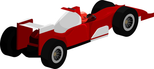 Acrylic Prints F1 Vector illustration of a red and white open-wheel race car.