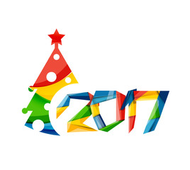 Christmas geometric banner, 2017 New Year