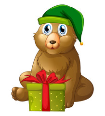 Christmas theme with bear and present box