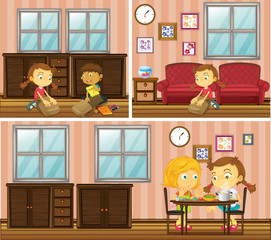 House scene with kids doing different activities