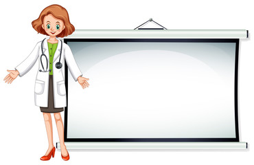 Board template with doctor standing