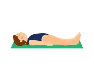 Girl doing yoga. Asana baby yoga. Kids yoga vector. Сolored mats for yoga. Yoga for women