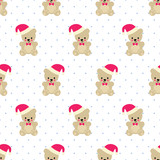 Teddy Bear With Santa Hat Seamless Pattern Cute Vector With Baby