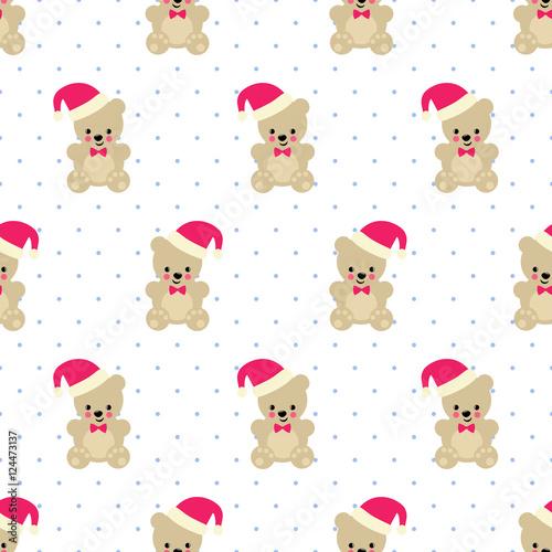 Xmas Teddy Bear With Santa Hat Seamless Pattern On White Polka Dots