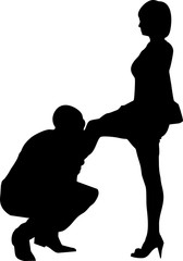 silhouette man kissing leg and and hand woman
