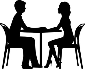 silhouette of a loving couple sitting at a table silhouette of lovers on a date in the cafe two