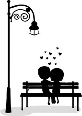 silhouette of boy and girl sitting on a bench