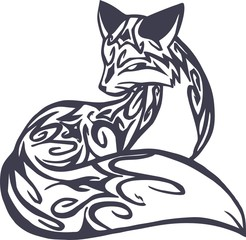 tribal curly fox for tattoo