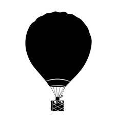 Retro hot air balloon. Black Isolated On White Background. Vector