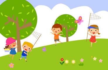 girl and boy catch butterflies on a green lawn,vector illustration
