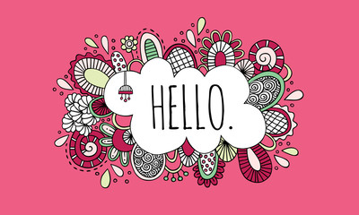 Hello word in the centre of a cloud shape with happy swirls, doodles and flowers surrounding it on a pink background