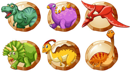Different types of dinosaurs on round buttons