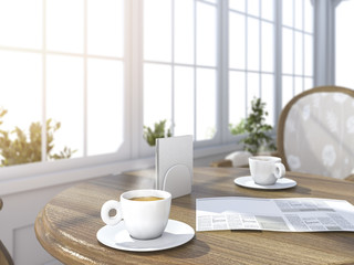 3d rendering depth of field coffee set with newspaper in bright white room with sun glare near the garden