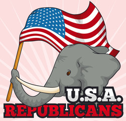 Elephant Holding a American Waving Flag Supporting Republicans, Vector Illustration