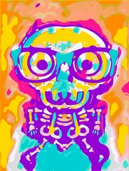 shocking skull in blue yellow pink orange and purple