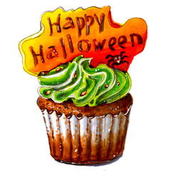 Marker sketch of Happy Halloween cupcake. Party dessert of chocolate dough with green cream, orange plate with text. Tasty food. Isolated on white background. Hand drawing on paper. Cutout. Creativity