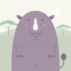 cute fat big rhino on light africa field background