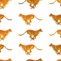 Vector low poly running cheetah seamless pattern