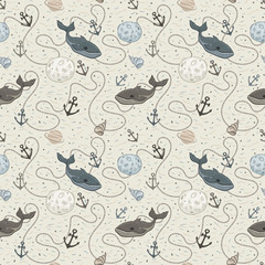 Vector whale seamless pattern