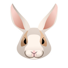 Vector white  bunny or rabbit portrait animal face icon