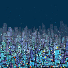 Night city scene. Hand drawn, vector illustration