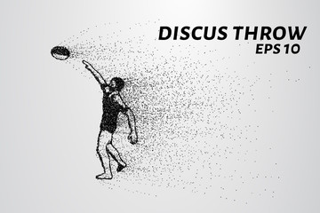 Discus throw of particles. The athlete throws the disc. Discus consists of circles and points.