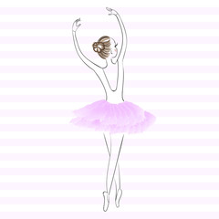 Cute young ballerina dancing on pointe, ballet shoes in flower t
