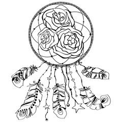 Dream catcher with rose flower. Tattoo art, mystic symbol. Print