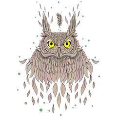 hand drawn fashion portrait of geek owl, silkscreen printing des
