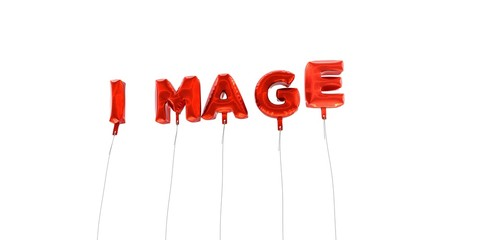 IMAGE - word made from red foil balloons - 3D rendered.  Can be used for an online banner ad or a print postcard.