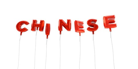 CHINESE - word made from red foil balloons - 3D rendered.  Can be used for an online banner ad or a print postcard.