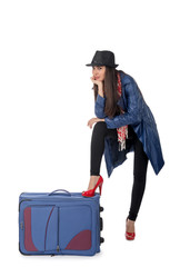 Young girl  with the travel bag, isolated on white background