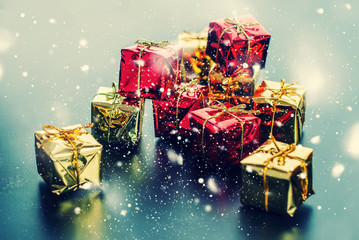 Christmas Card Red Golden Boxes Drawn Snow