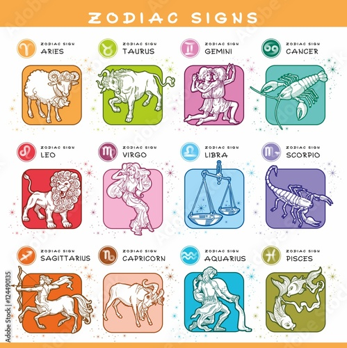 Set Of Zodiac Symbols Colored Icons Of 12 Zodiac Signs Traditional