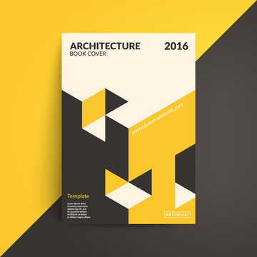Architecture book cover. Isometric design. A4 format template. Vector eps10