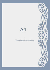 A4 paper lace greeting card, wedding invitation, white pattern, cut-out template,  template congratulation, perforation pattern, laser cutting template,  vector