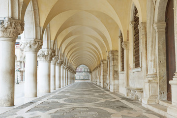 Archway underneath the Doge's Palace in San Marco Square (Venice, Italy). Horizontally.