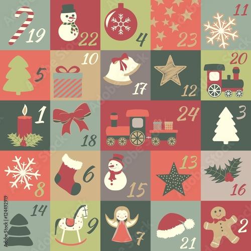 Adventskalender Mit Türchen Für Kinder Mit Weihnachtssymbolen Zum Advent