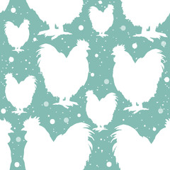 Roosters seamless pattern silhouette of the cock symbol new year