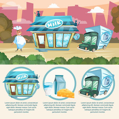 Milk shop infographics dairy products milkman delivery truck