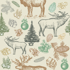Christmas seamless pattern, reindeer, fir tree, balls