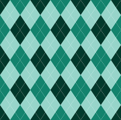 Seamless argyle pattern in dark green & turquoise green.