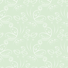 Seamless floral vector pattern with insect. Decorative pastel green background with butterflies, roses and decorative elements . Series of Animals and Insects Seamless Patterns.