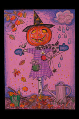 Halloween - Scarecrow pumpkin. artist drawing